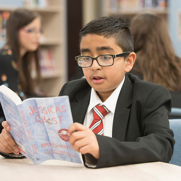 Student reading at Wolverhampton Grammar School