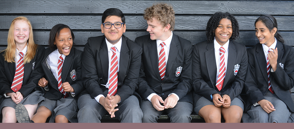 Senior students in a line at Wolverhampton Grammar School